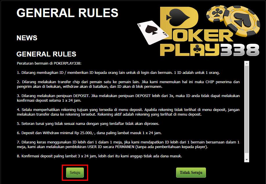 Halaman peraturan pada Pokerplay338